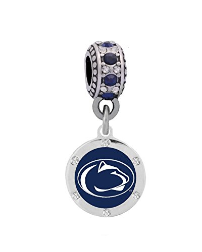 Penn State University Crystal Charm Fits European Style Large Hole Bead Bracelets