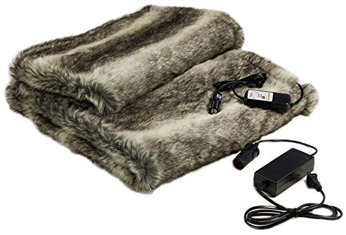 Faux Fur Cozy Heated Throw Blanket for Home and Auto (58 x 36) with Patented Safety Timer