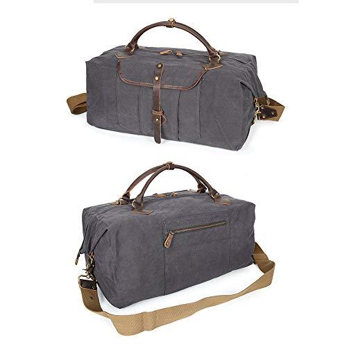 In Borsa Multifunzionale Per Da Bagagli 25 ayng 35cm Capacità Gray Grande Uomo Wy Retro Tela Viaggio brown Di Zaino 50 vwIqzWP0