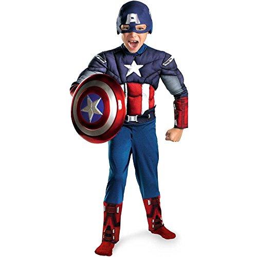 Classic Captain America Kids Costumes (Captain America Movie Classic Muscle Child Costume - Small)