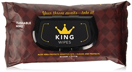 KING Wipes Flushable Wet Wipes, Unscented with Aloe, Dispenser (3 Packs, 48ct Per Pack)