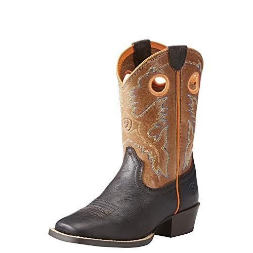 Saddle Kids Boots - Kids' Baby Heritage Roughstock Western Boot, Dark Java/Light Saddle, 9 M US Toddler