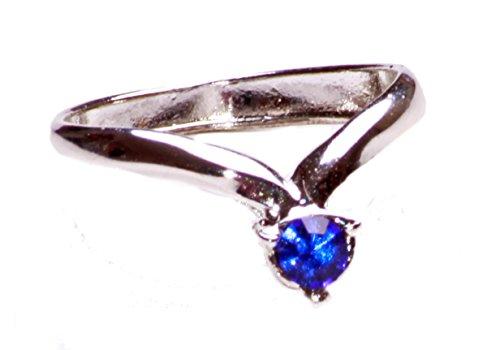 PINKY o MIDI de plata en forma de anillo con arco metálico azul Característica de gema (ZX47)