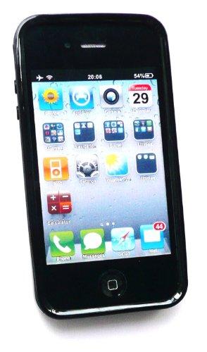 Emartbuy Lcd Displayschutz Und Gebürstetem Aluminium-Finish Mit Gel-Kantenschutz Case / Cover / Skin Schwarz Für Apple Iphone 4 4G 4Gs 4S Hd