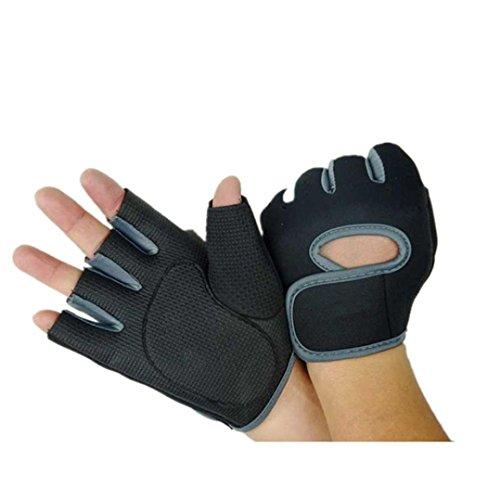 ABC 2016 New Summer Bike Half Short Riding Sport Half - Finger Gloves Bodybuilding Anti Slip Gloves (Gray)