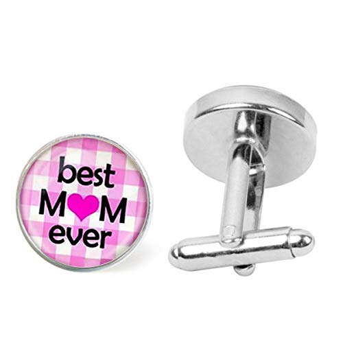 Artwork Store Mens Stainless Steel Cuff Links Best Mom Ever Mothers' Day Love Mom Personalized Cufflinks Business Party Wedding (Best Wedding Speech Ever Father Of The Bride)