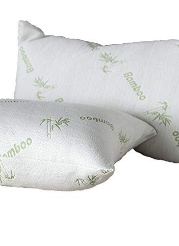 Niagara Sleep Solution Anti Allergy Bamboo Pillow Protector Standard Pair Zippered Hypoallergenic Case, Bed Bugs Dust Mites, Noiseless Pad, Ultra Soft Absorbent Anti Microbial