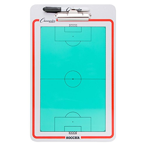 (Champion Sports Large Dry Erase Board For Coaching Soccer - Whiteboards for Strategizing, Techniques, Plays - 2-Sided Boards with Clip - Front Side Full Field - Backside Half Field)