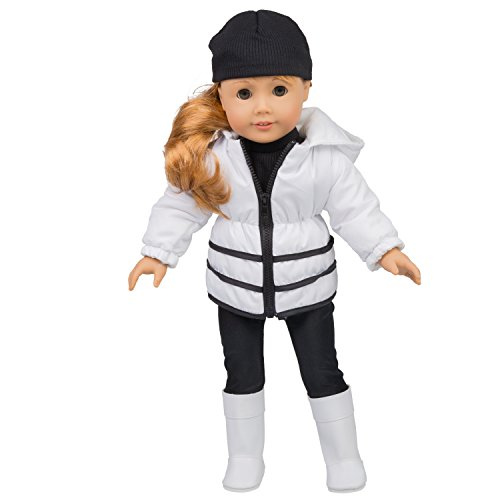Dress Along Dolly Winter Outfit for American Girl Dolls - 5 pc Clothes Set w Jacket, Shirt, Hat, Boots, and Leggings (American Girl Doll Winter Clothes)