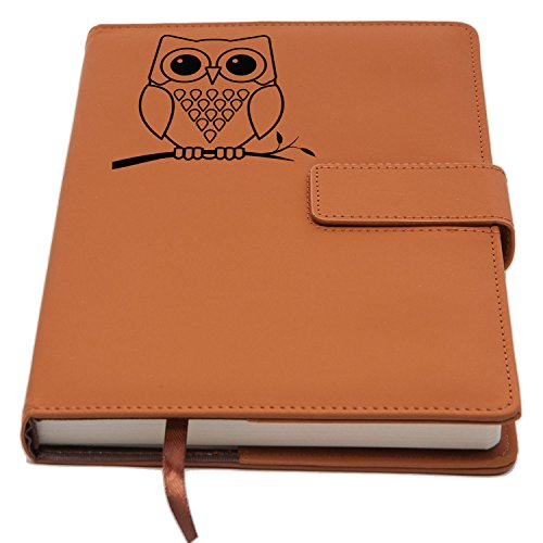 Owl Refillable Writing Journal | Faux Leather Cover, Magnetic Clasp + Pen Loop | Blank Notebook | 200 Lined Pages, 5 x 8 Inches for Travel, Personal, Poetry | Brown | The Amazing Office