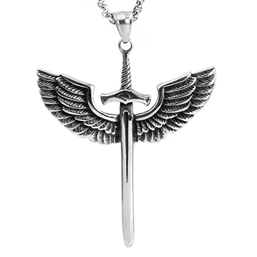 COPAUL Jewelry Men Stainless Steel Sword Wings Pendant with 60CM Necklace,Color Silver Black