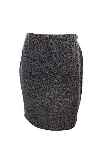 Herringbone Womens Skirt - Studio M Black Marled Ponte Skirt L