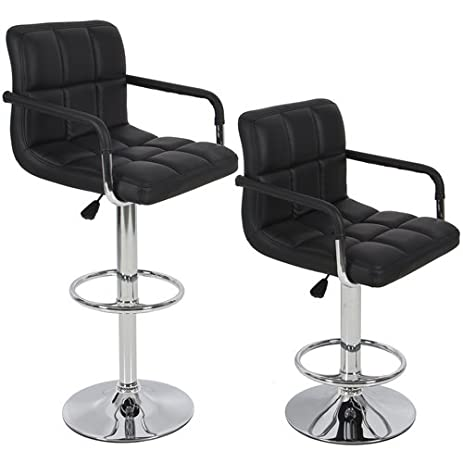 Amazon Com Bar Stools Leather Set Of 2 With Armrest Black