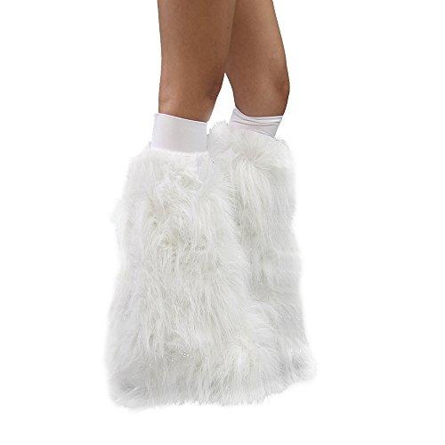 White Sparkle Rave Furry Legwarmers Fluffies (White Fluffy Leg Warmers)