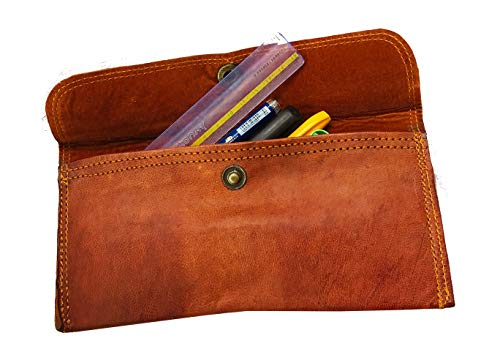 Handmade Genuine Leather Pencil Roll - Pen and Pencil Case - Dark Brown -