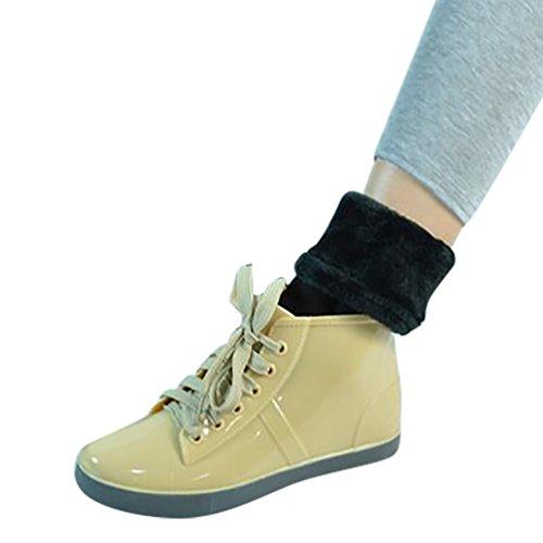 LvRao Mujer Boots Flattie de Goma Impermeable de Nieve Lluvia Botines Corto Calientes Botas Tobillo Alto con Cordones de Zapatos Beige con Calcetines