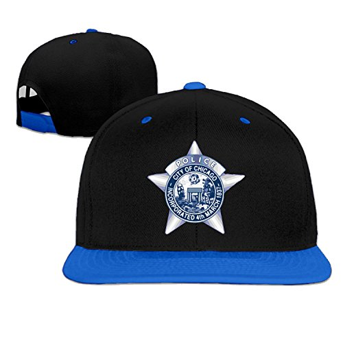 [Unisex Chicago Police Department Sta snap-back flat brim hat SkyBlue One Size] (Cheap Police Hats)