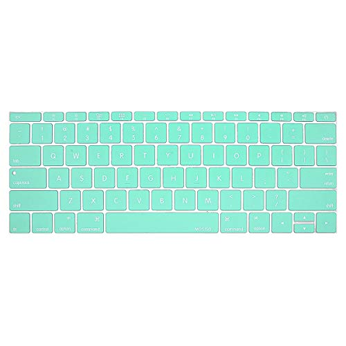 MOSISO Silicone Keyboard Cover Protective Skin Compatible MacBook Pro 13 Inch 2017 & 2016 Release A1708 Without Touch Bar, New MacBook 12 Inch A1534, Mint Green (Green Skin Cover)