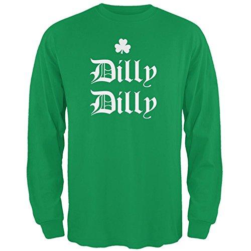Old Glory ST. Patricks Day Dilly Dilly Shamrock Mens Long Sleeve T Shirt Irish Green (Day T-shirt)