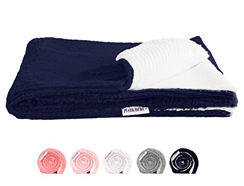 "Chenille Seat - Ultra Soft Plush Baby Blanket - Premium Quality Layette and Stroller Blankie - Cozy and Fuzzy Chenille Fur - Navy and Ivory, 29"" x 35"" - by Plush Bebe"