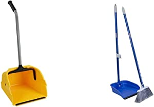 Quickie Debris Dustpan with Handle, Jumbo Debris Pan & Stand and Store Stand & Store Long Handle, Upright Broom and Dustpan Set for Use in Home, Kitchen, Office, Lobby, and Outdoors, 1-Pack