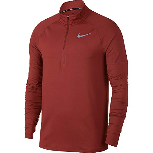 NIKE Men's Element 1/2 Zip Running Shirt (Dune Red, Medium)