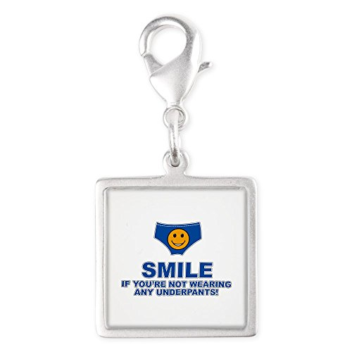Royal Lion Silver Square Charm Smile If Not Wearing Underwear -