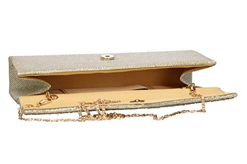 Bolsa mujer LUCA BORSE pochette oro de ceremonia VN38