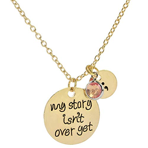 Myhouse Letter My Story Isnt Over Yet Lettering Alloy Inspirational Necklace,Gold Color