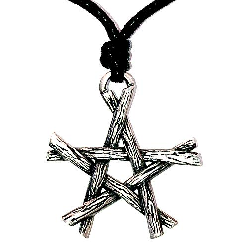 (OhDeal4U Magic Wicca Pagan Pendant Twigs Pentagram Star Silver Pewter Pendant Charm Amulet Necklace (Black Adjustable Cord))