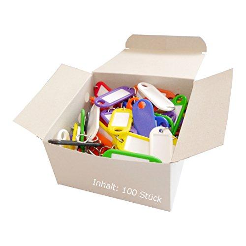 Wedo 262803499 Schlüsselanhänger aus Kunststoff mit S-Haken, auswechselbare Etiketten, 100 Stück, farbig sortiert