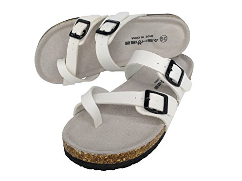 ASHVIEE Sandals Cork Classic Casual Slide Slide ASHVIEE Footbed White Sandals ATdxtTwq