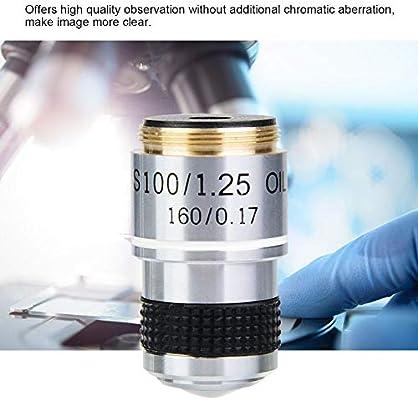 Objetivo acrom/ático Lente 100X 185 Microscopio biol/ógico Objetivo acrom/ático Lente 160//0.17