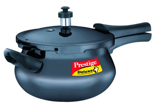 Prestige Deluxe Plus Mini Induction Base Hard Anodized Pressure Handis, 3.3 Litres, Black