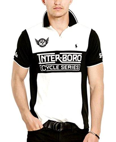 Polo Ralph Lauren Men's Custom Fit Inter-Boro Cycle Series Polo Shirt Medium White/Black