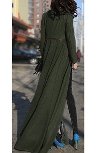Otoño Larga Lana Elegante Clásico Manga Mujer De Swing Sólido La Invierno Trenchcoat Outwear Navygreen Maxi Rp51qn