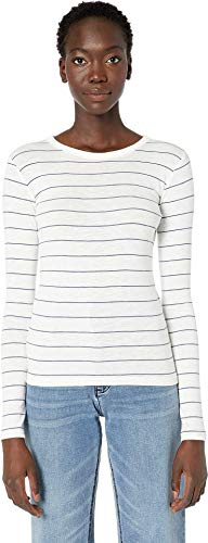 Vince Women's Chalk Stripe Long Sleeve Crew Sweater Off-White/Arroyo Medium