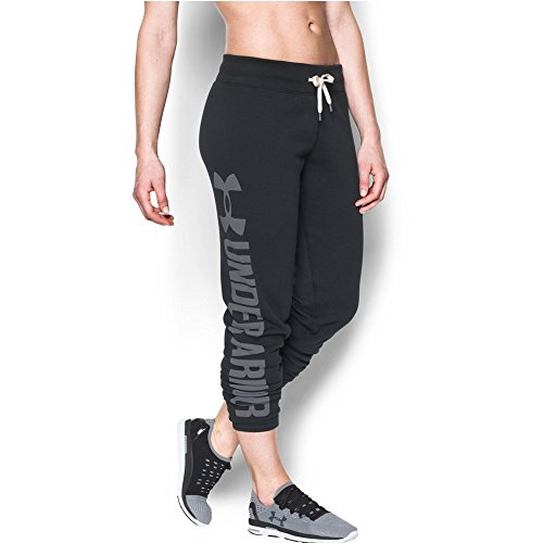 Under Armour Women's Favorite Fleece Pant, Black/White, X-Large