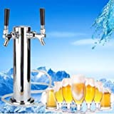 Towers Beer Tap Duel Faucet Draft Mirror Polished Double Stainless Steel - Faucets Faucets Accessories - 1 x Draft beer tower with 2 hoses