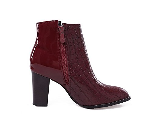 Toe Pu Round Closed Solid Boots Zipper AmoonyFashion Women's High Claret Heels xwqXBaa5Yp