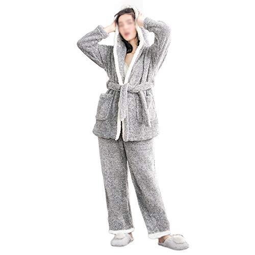 Caldo Notte Set Notte Da Top Da Regalo Da Pjs Grey Camicia Salotto Cappuccio Con Da Da Comodi Pigiama Pantaloni E Donna Indumenti Pile PS0qw6x0