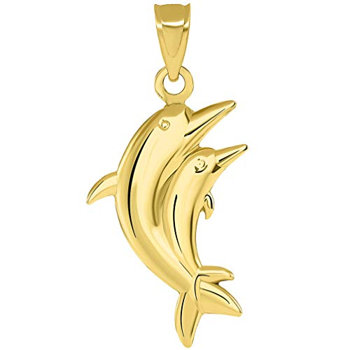 Yellow Gold Dolphin Animal - 14k Yellow Gold 3D Two Dolphins Jumping Together Vertical Pendant