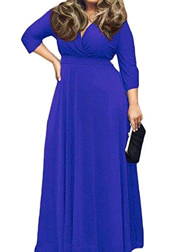 Jaycargogo Des Femmes De Manches Longues Solide V Cou Oscillation Longue Robe Maxi Taille Plus 1