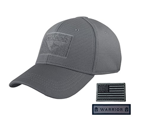 Fitted Flex Hat (Condor Flex Tactical Cap (Large/Extra Large, Graphite) with USA Flag Hook and Loop Patch (Foliage/Black))