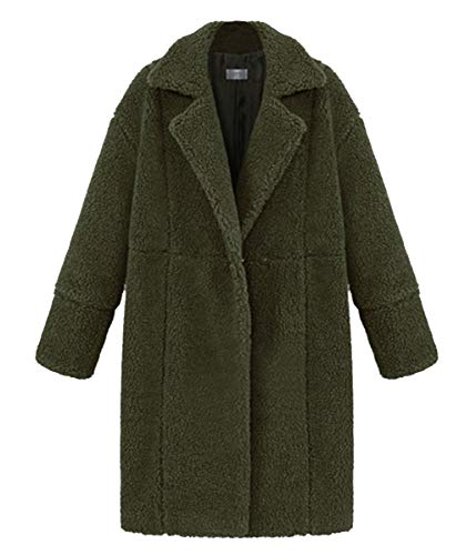 Lana Risvolto Peloso Inverno Casual Verde Cappotto Lunga Mantello Solido Outwear Autunno Blackmyth Donne Di Caldo Colore Manica nqvXY6Y