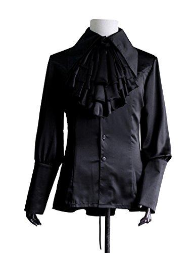 Vintage Men's Shirt Peak Collar Long Cuffs Jabot Set (Black)]()
