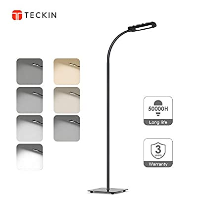 Floor Lamp, LED Floor Light, TECKIN Reading Standing Lamp Dimmable for Living Room Bedroom, 50,000 Hours Lifespan & High Lumens,Touch Control Floor Light, 3 Color Temperatures, 4 Level Brightness