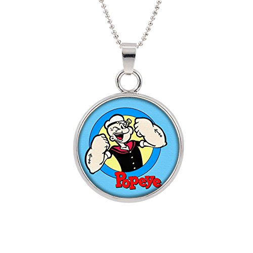Popeye Pendant Necklace TV Movies Classic Cartoons Superhero Logo Theme Olive Oyl Bluto Sweet Pea Spinich Spinach Premium Quality Detailed Cosplay Jewelry Gift (Popeye Olive Oyl And Sweet Pea)