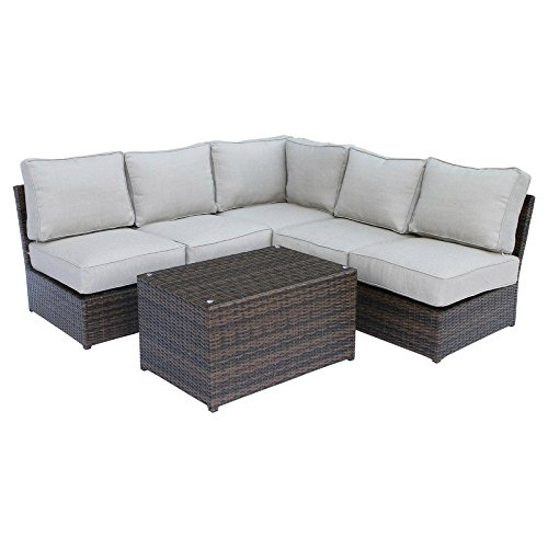 Living Source International Cyber Week 2017 Deals Lucca Brown Wicker 6-Piece Sectional Set CM-4210 6-Piece Sectional Set