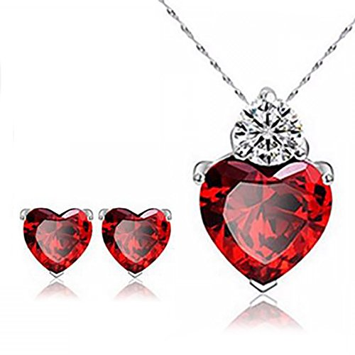 Red Heart necklace Pendant and Earrings Set - Perfect Christmas Gift in a Beautiful Gift Box